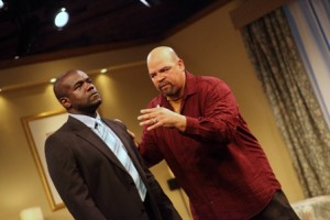 Dwayne A. Thomas, who plays Lewis, and Brian Anthony Wilson, who plays Frank, star in ASSASSIN, a new play by David Robson. (Photos by Kathryn Raines/Plate 3 Photography