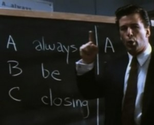 Alec Baldwin gives some gentle sales tips in the film version of Glengarry Glen Ross