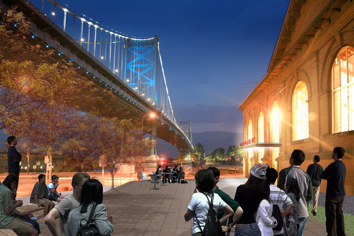 Rendering of the initial design for the FringeArts outdoor plaza (Photo credit: WRT Planning & Design)