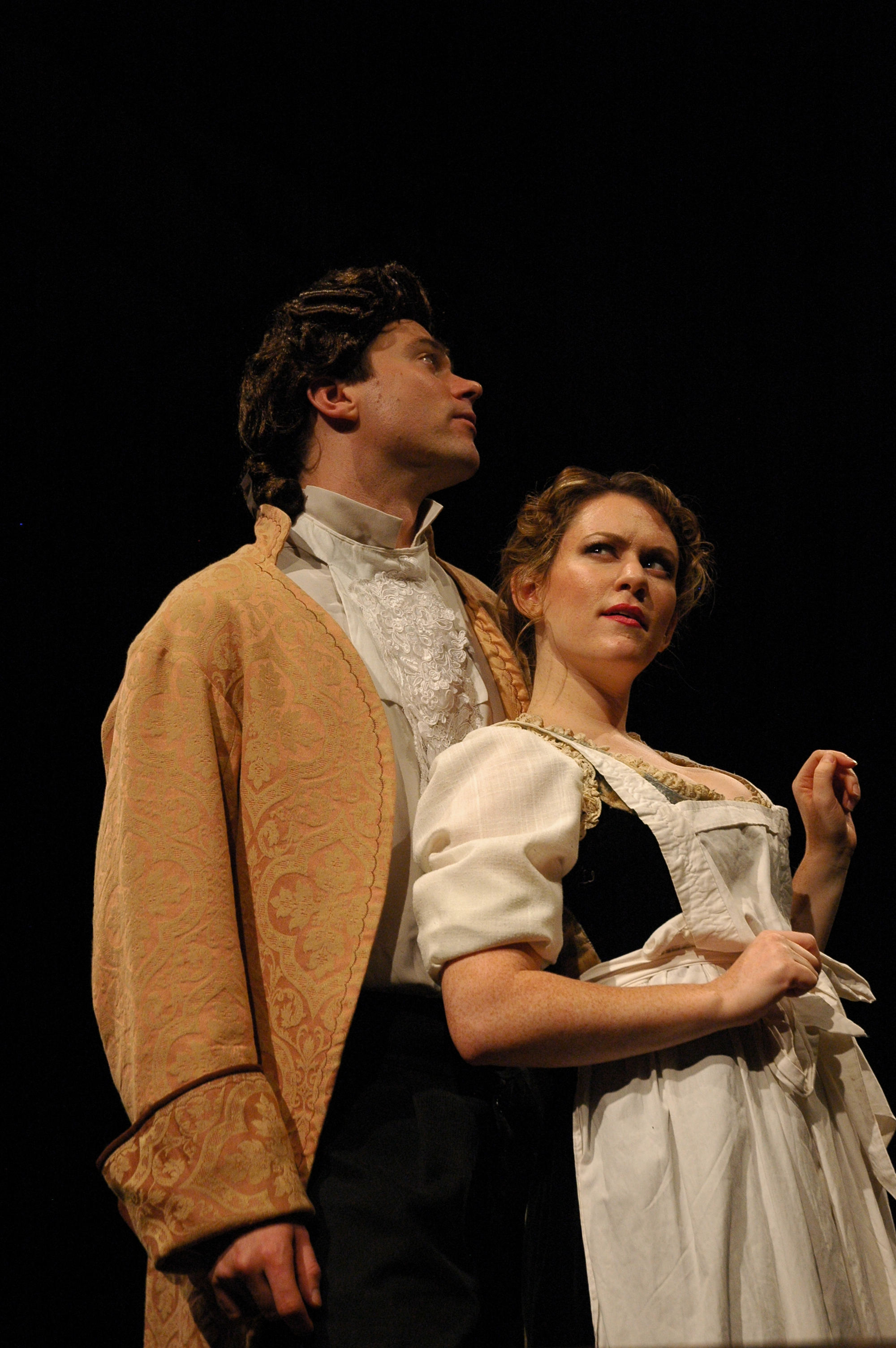 Josh Carpenter (as Marlow), Sonja Field (as Kate Hardcastle) in SHE STOOPS TO CONQUER. Photo by Alexander Burns.