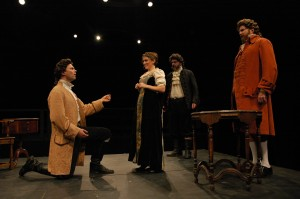 Josh Carpenter (as Marlow), Sonja Field (as Kate Hardcastle), Ralph Edmonds (as Sir Charles Marlow), John Preston (as Hardcastle). Photo by Alexander Burns.