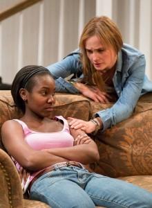 Joniece Abott-Pratt as Cheryl and Julianna Zinkel as Kimber in Arden Theatre Company's production of Stick Fly. Photo by Mark Garvin.