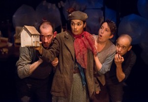 Charlie DelMarcelle, Geneviève Perrier, Amy Smith, and Doug Hara in the Lantern's A CHILD'S CHRISTMAS IN WALES (Photo credit: Mark Garvin)