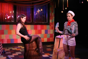 Dana Kreitz as Olivia and Merci Lyons-Cox as Oliver in Curio Theatre Company's GENDER COMEDY. Photo by Claire Horvath.