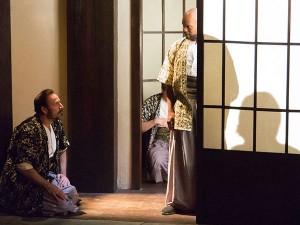 Joe Guzman as Cassius and Forrest McClendon as Julius Caesar in Lantern Theater Company's JULIUS CAESAR (Photo courtesy of Mark Garvin)