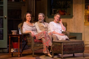 Grace Gonglewski as Masha, Kraig Swartz as Vanya, and Deirdre Madigan as Sonia in Philadelphia Theatre Company's VANYA AND SONIA AND MASHA AND SPIKE (Photo credit: Mark Garvin)
