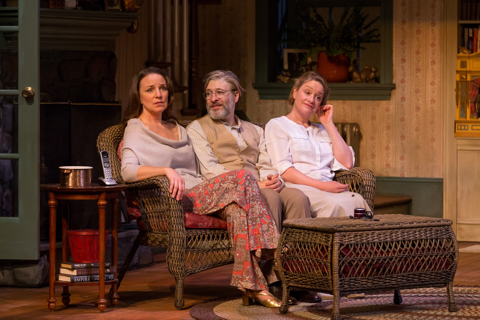 Grace Gonglewski as Masha, Kraig Swartz as Vanya, and Deirdre Madigan as Sonia in Philadelphia Theatre Company's VANYA AND SONIA AND MASHA AND SPIKE (Photo credit: Mark Garvin)