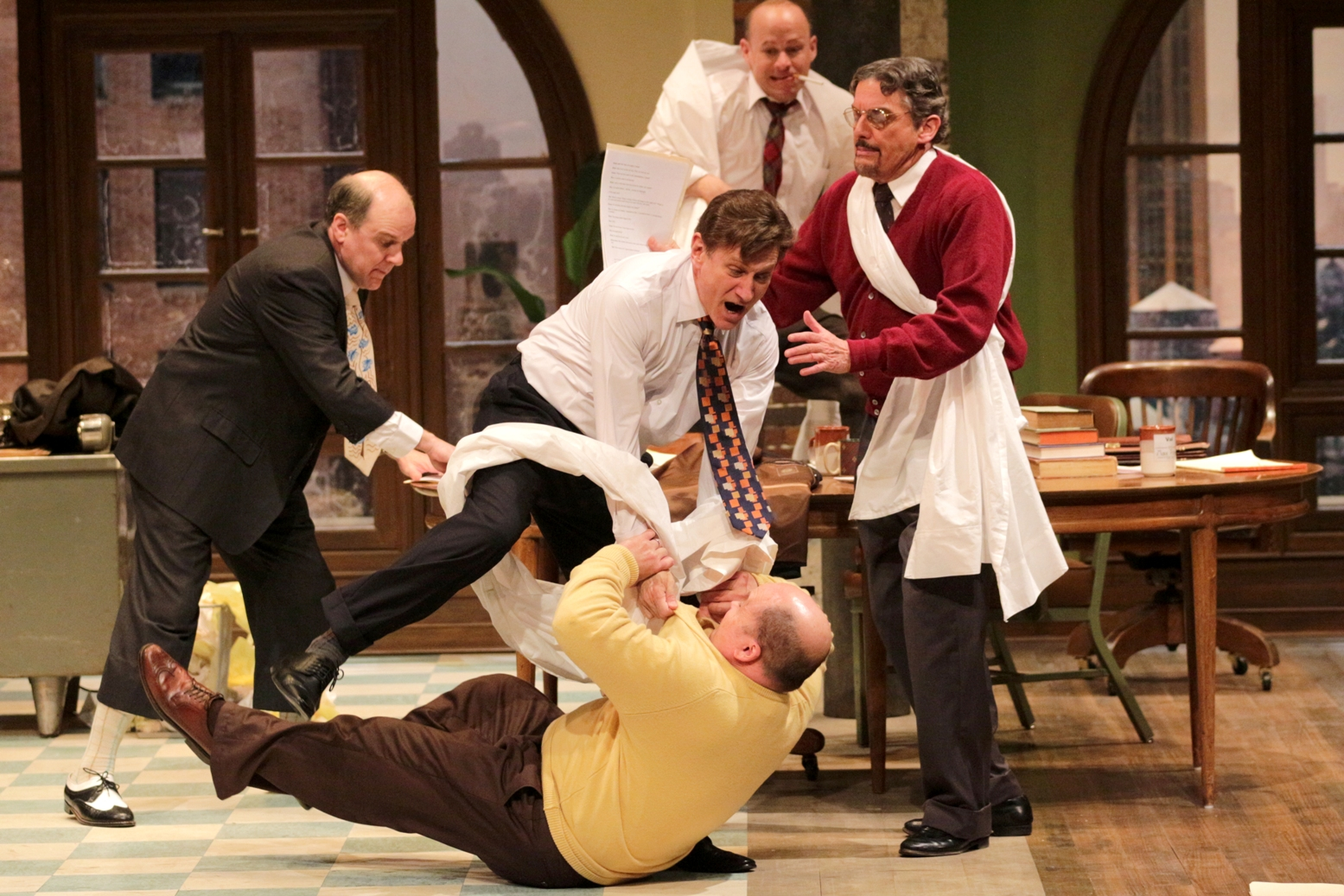 Benjamin Lloyd (on floor), Bruce Graham, David Edwards, Carl Wallnau, and George Deihl (back) in Bristol Riverside Theatre's LAUGHTER ON THE 23rd FLOOR (Photo Credit: BRT Staff)