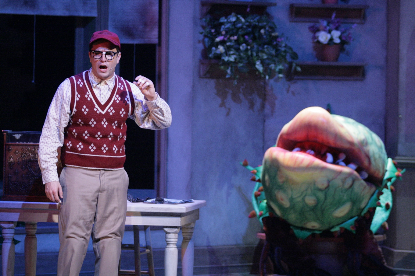 Andrew McMath stars in Bristol Riverside Theatre's LITTLE SHOP OF HORRORS (Photo credit: BRT staff)