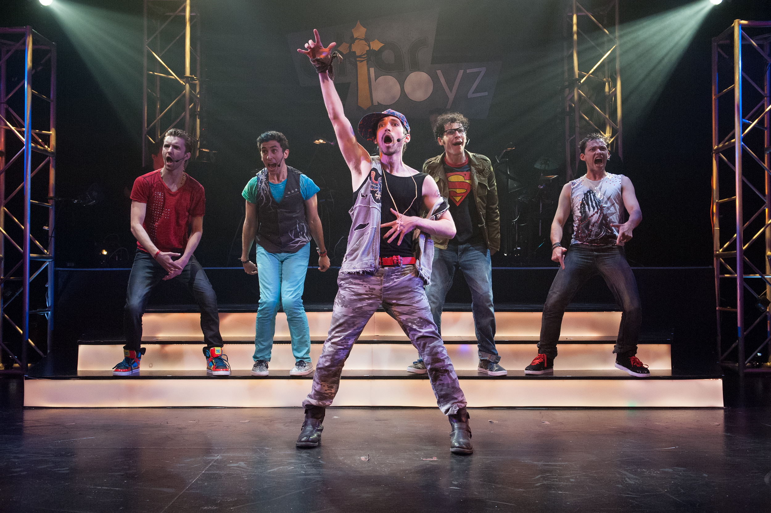 (Left to right) Adam Hoyak, Nicholas Park, Billy Kametz, Michael Linden, and Robert Hager in 11th Hour's ALTAR BOYZ (Photo credit: John Flak)