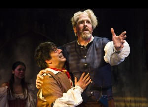 "Sonny Leo and Peter Schmitz star as Sancho Panza and Don Quixote in Act II Playhouse's production of ""Man of La Mancha,"" now playing through June 8, 2014. Photo by Bill D'Agostino."