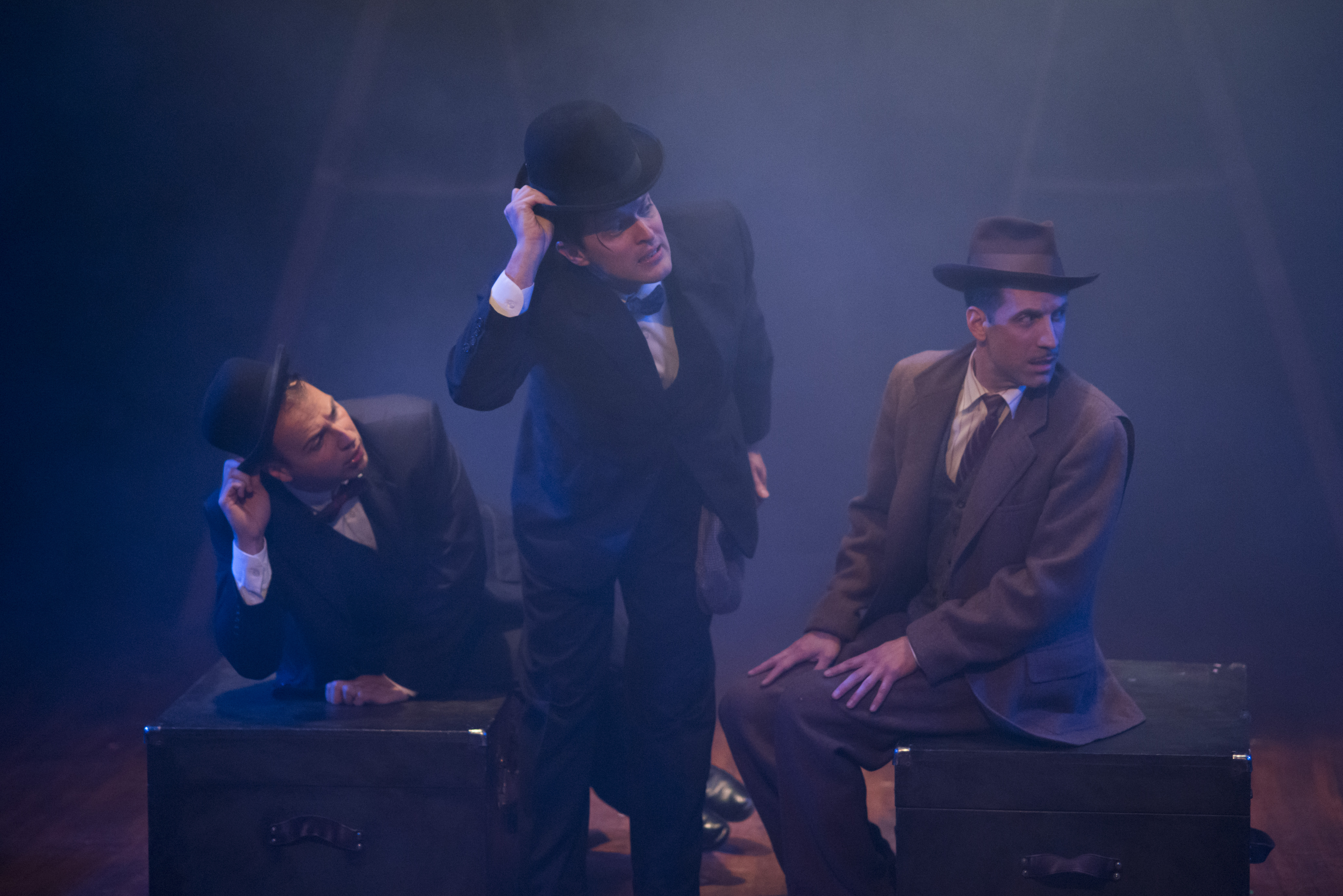 Adam Altman, Steve Pacek, and Damon Bonetti in Hitchcock's THE 39 STEPS at Theatre Horizon.