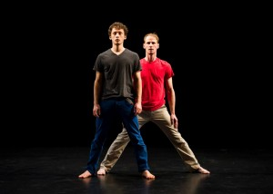 Ben Grinberg (left) and Nick Gillette in a Fresh Tracks performance at New York Live Arts. Photo credit Ian Douglas.