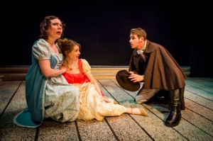 Jennifer Summerfield as Elinor Dashwood, Nell Bang-Jensen as Marianne Dashwood and Brock Vickers as Willoughby in Hedgerow Theatre's SENSE & SENSIBILITY.