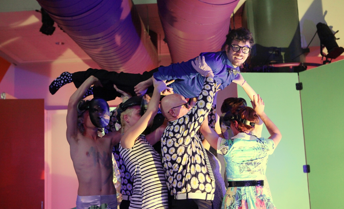 """The cast of ANDY: A POPERA elevating Sean Lally, who stars as Warhol """"expert"""" Dr. Peter Never (Photo credit: Kate Raines Plate 3 Photography)"""