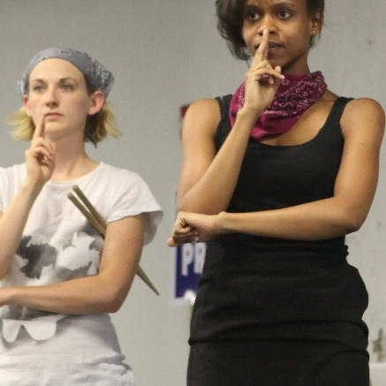 Mary Tuomanen and Aimé Donna Kelly in WE ARE BANDITS. Image courtesy of Applied Mechanics.