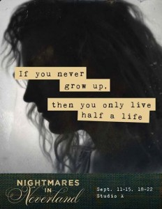 Promotional image for NIGHTMARES IN NEVERLAND, featuring Jenna Kuerzi (Photo credit: Brey Ann Barrett)