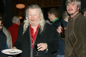 Phindie editor Christopher Munden and local celebrity bar owner Fergus Carey enjoy an opening night drink.