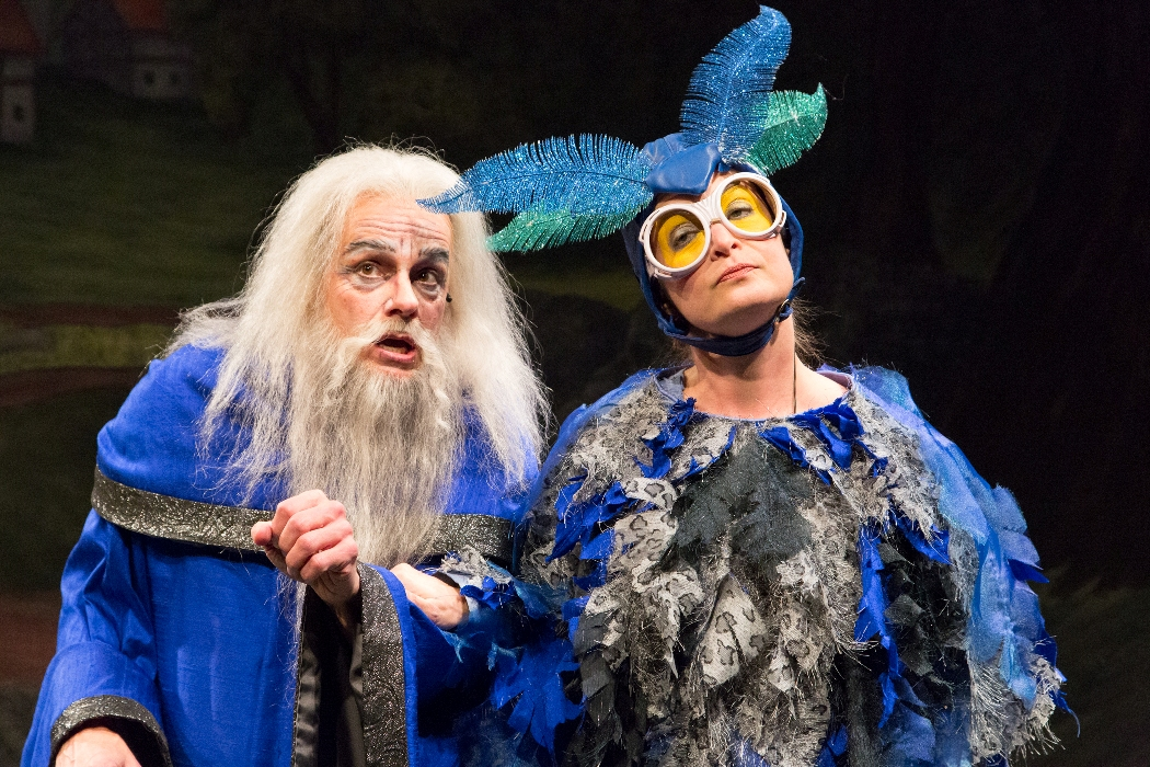 Christopher Patrick Mullen as Merlyn and Susan McKey as Archimedes in ARTHUR AND THE TALE OF THE RED DRAGON at People's Light (Photo caption: Mark Garvin)