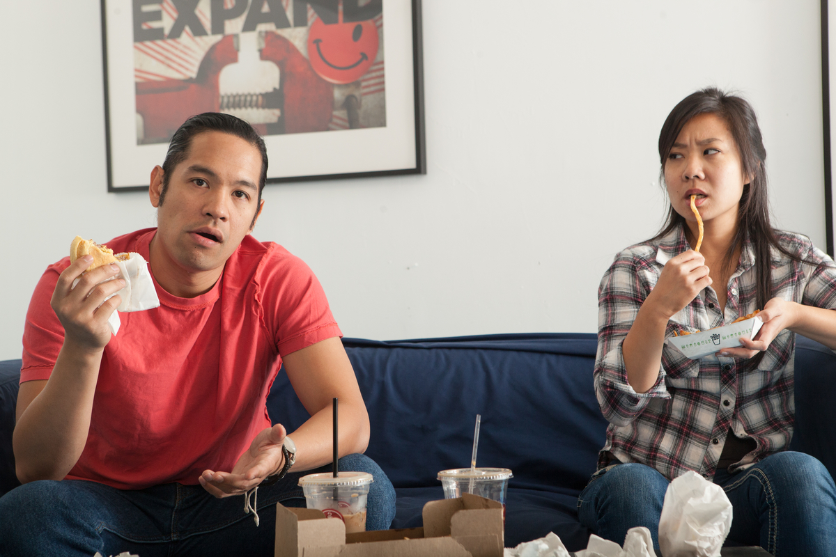 Justin Jain and Bi Jean Ngo star in Christopher Chen's superb new comedy, CAUGHT at InterAct.