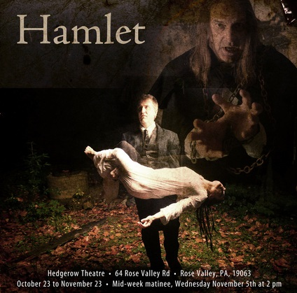Promotional photo featuring Hamlet, Ophelia, and ghost