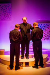 Ken Opdenaker, Paul Kuhn (center) and Steve Carpenter.in THE MATTER OF FRANK SCHAEFER. Photo by Rebecca Miglionico.