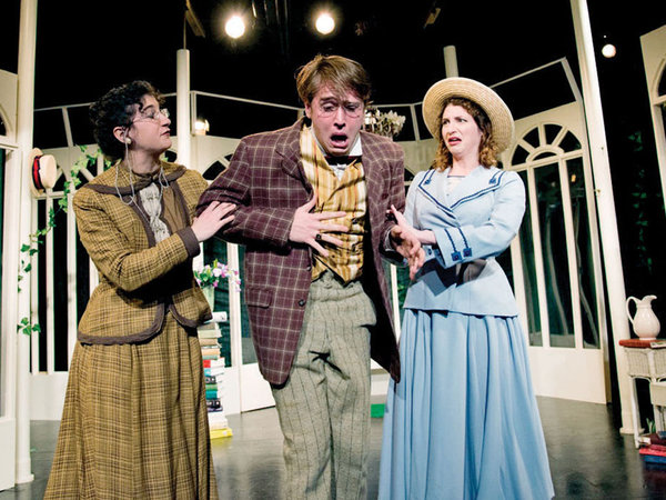 Emily Schuman, Andrew Carroll, and Heather Cole in IRC's MISALLIANCE.