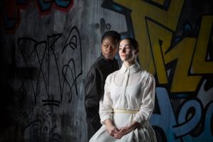 Zainab Jah (left) is Hamlet and Sarah Gliko is Ophelia in HAMLET at the Wilma. Photo: Alexander Iziliaev