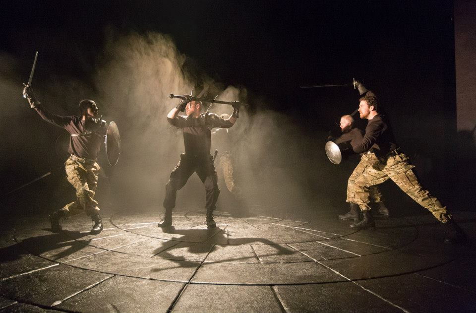 Jahzeer Terrell as a soldier, Ian Merrill Peakes as Macbeth, Terence Macsweeny and Sean Bradley as Soldiers in MACBETH at the Arden. Photo by Mark Garvin.