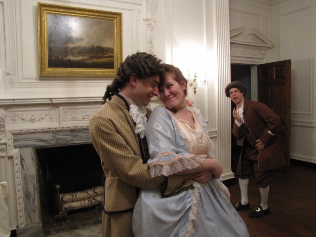 Geremy Webne-Behrman, Neena Boyle, and Jonathan Elliott Coarsey in The Mechanical Theater's SHE STOOPS TO CONQUER (Photo credit: Loretta Vasile)