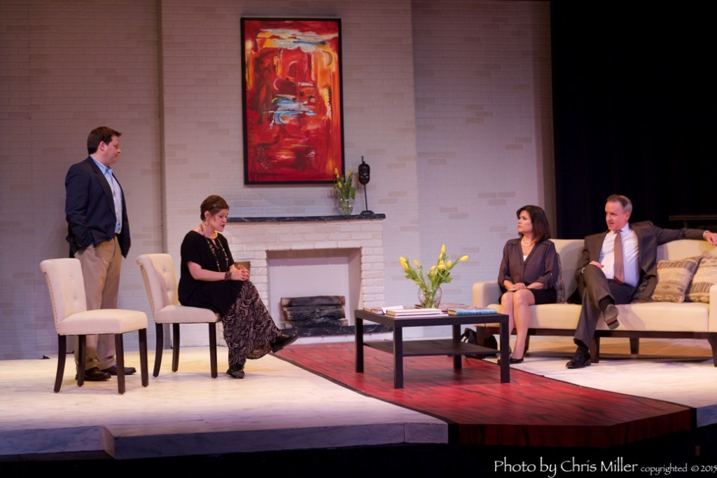 The ensemble (left to right: John Jackowski, Jessica Doheny, Maureen Corson, and Paul McElwee) of Ritz Theatre Company's GOD OF CARNAGE (Photo credit: Chris Miller)
