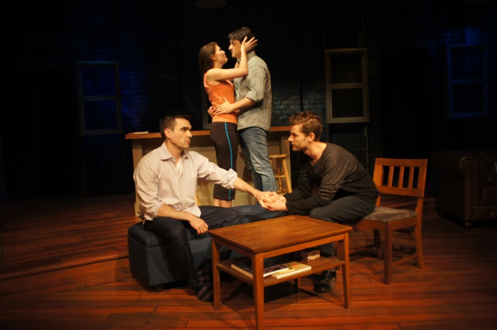 The ensemble (left to right: Dan Domingues, Jessica DalCanton, Trent Blanton, and Andy Phelan) of Passage Theatre Company's THE GOLDILOCKS ZONE (Photo credit: Michael Goldstein)