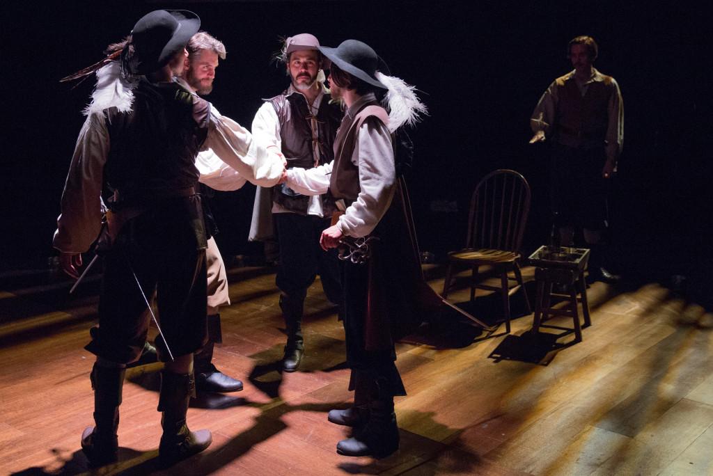 Alan Brincks (as Aramis), Michael Brusasco (as Athos), Gregory Isaac (as Porthos), Connor Hammond (as d'Artagnan), Sean Close (as Planchet). Photo by Alexander Iziliaev.