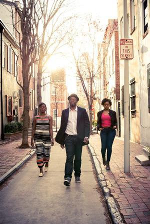Lindsay Smiling (center) with MOON MAN WALK costars Aimé Donna Kelly and  Jaylene Clark Owens.