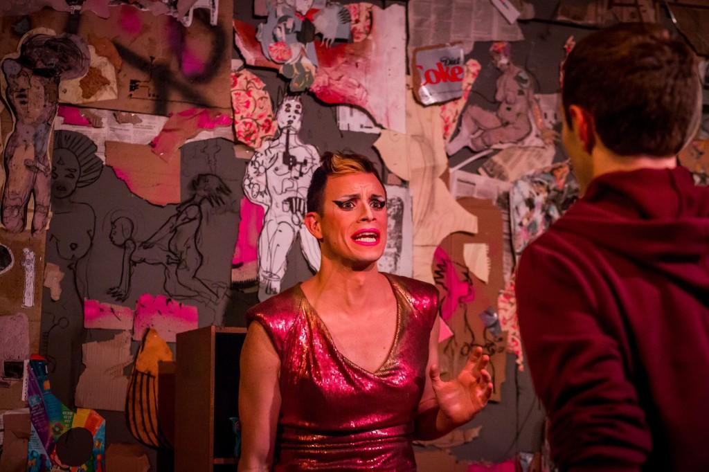 John Schultz as Lola & Joshua McLucas as Elliot in MERCURY FUR. Photo by