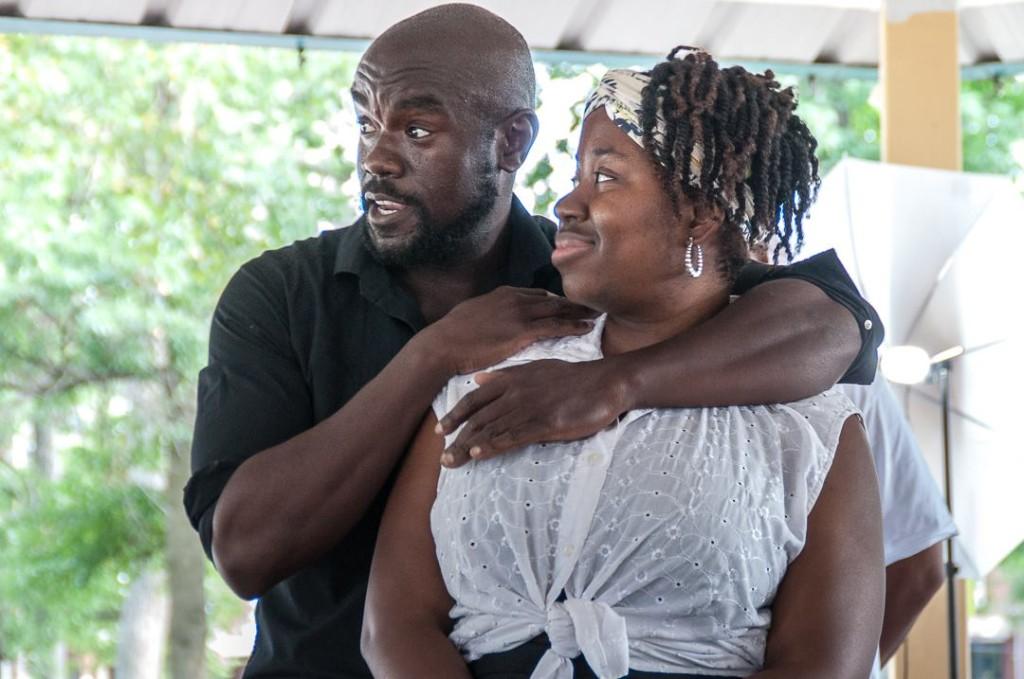Dwayne Thomas as Iago and LaNeshe Miller-White as his wife Emilia. Photo by Tieshka Smith.