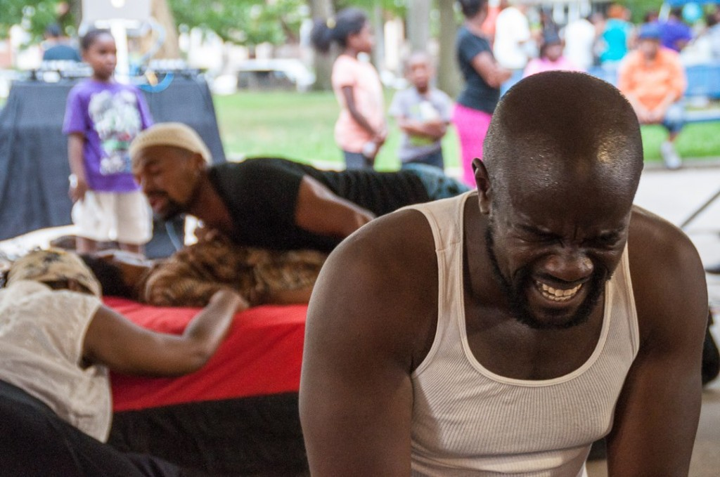 Dwayne Thomas as Iago laughs at the carnage he has caused. Photo by Tieshka Smith.