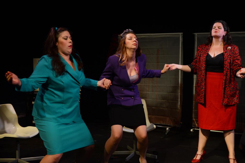 The Secretaries: (l. to r.) Katherine Perry, Jennifer MacMillan, Sarah Schol. Photos by John Donges.