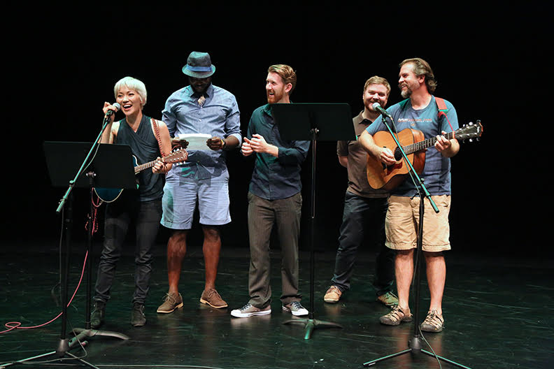 Meliss Dunphy, André M. Evers, Griffin Stanton-Ameison, Matthew Mastronardi, and Doug Durlacher and a recent Scratch Night preview of LOVES LABOURS LOST.