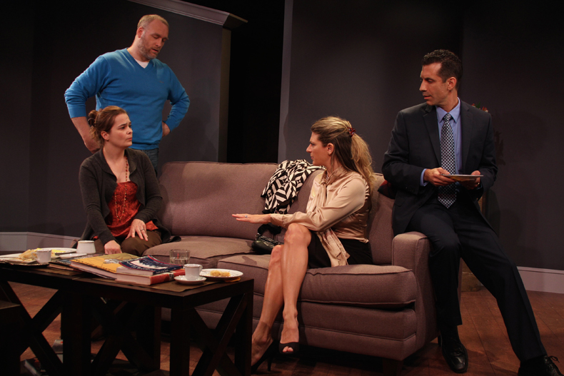 Nathan Foley, Charlotte Northeast,  Sarah Fraunfelder and Damon Bonetti in GOD OF CARNAGE. Photo by Angela McMichael