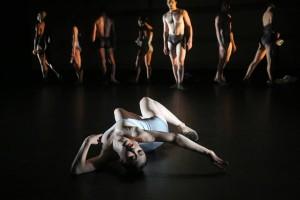 """Chloe Felesina, Zachary Kapeluck and Company in Nicolo Fonte's """"Beasts"""". Photo by Bill Hebert"""