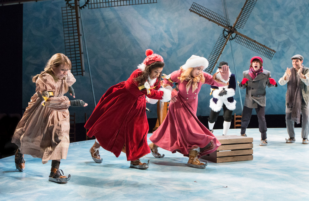 Lauren Hirte as Gretel, Ciji Prosser as Heidi, Rachel Camp as Katrinka, Steven A. Wright as Carl, Matteo Scammell as Peter, and Brian Ratcliffe as Hans in Arden's HANS BRINKER AND THE SILVER SKATES (Photo credit: Mark Garvin)