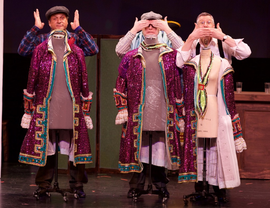 John Monforto, Josh Totora and Neill Hartley in the world premiere of THE THREE MARIES at the Prince Theater through January 10th. www.princetheater.org. Photo by Christoper Sapienza, Wiseman Productions