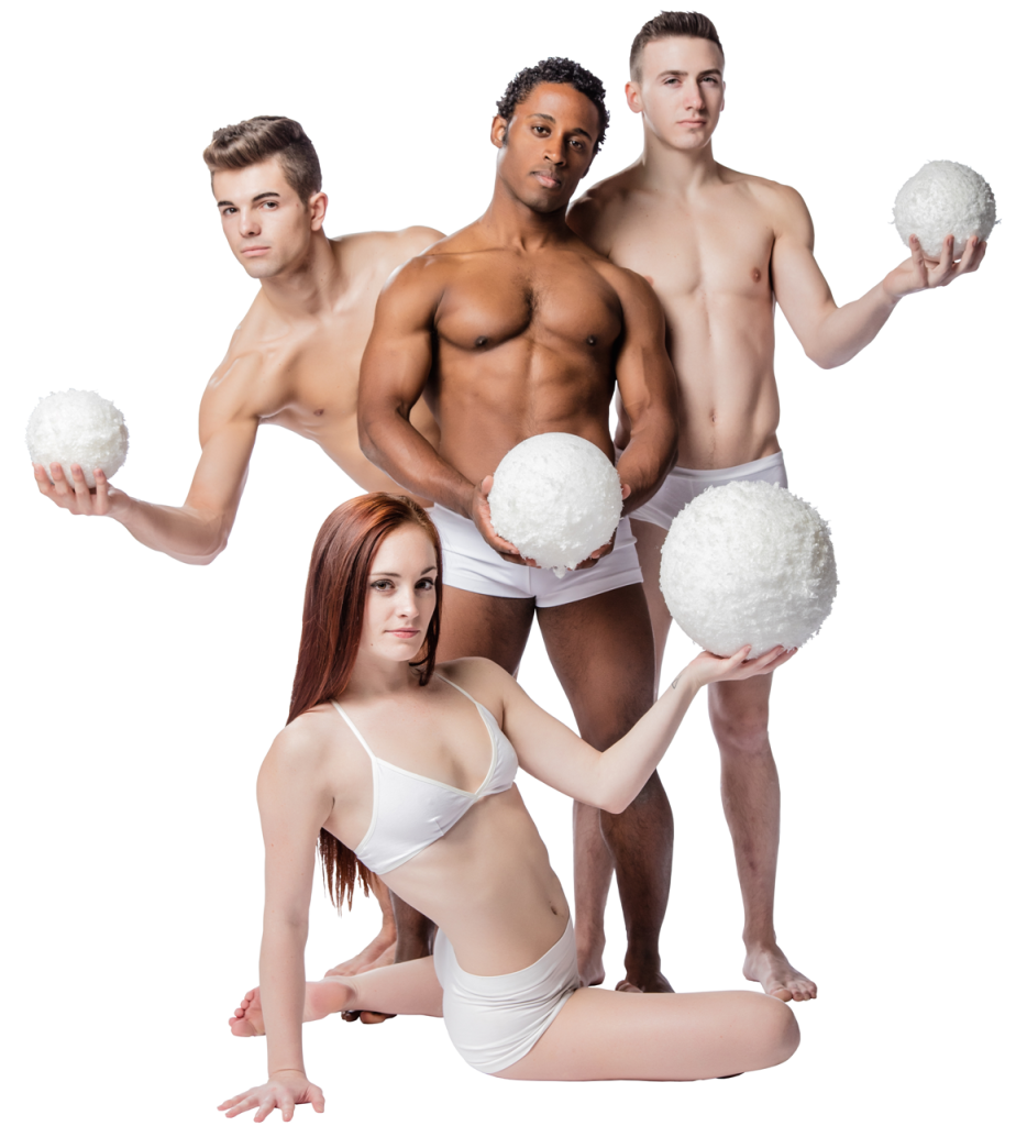 Promotional image for SNOWBALL 2016 by Brian Sanders' JUNK, with Kelly Trevlyn (front), Regan Jackson, William Robinson, and Peter Jones (Photo credit: Steve Belkowitz)