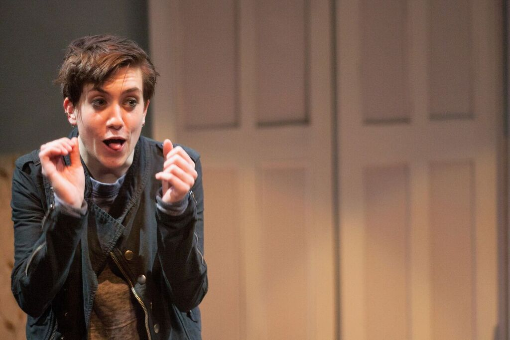 Emily R. Johnson as Amy in Inis Nua's SPINE (Photo credit: Katie Reing)