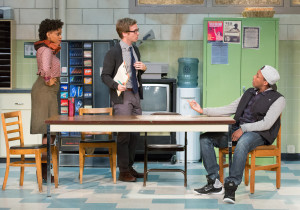 Aimé Donna Kelly, Ryan Spahn and Brandon Pierce in Philadelphia Theatre Company's production of the East Coast premiere of EXIT STRATEGY by Ike Holter, running through February 28 at the Suzanne Roberts Theatre.  For Photo credit: Mark Garvin