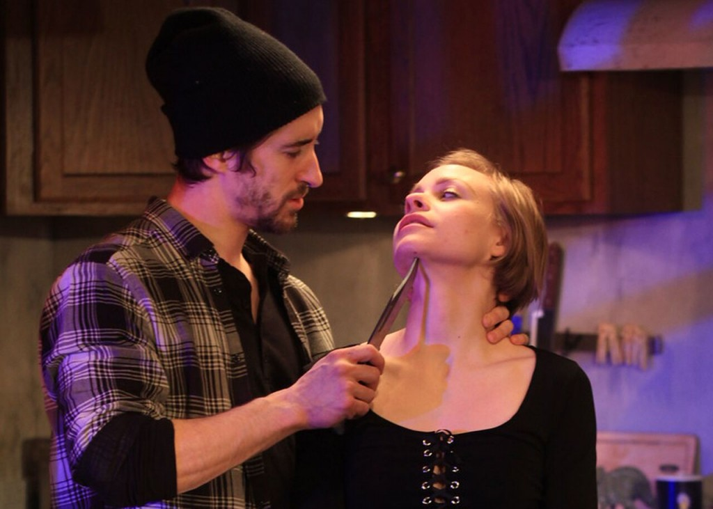 John (Matteo Scammell) and Julie (Merci Lyons-Cox) in Theatre Exile's SMOKE by Kim Davies. Photo credit: Paola Nogueras.