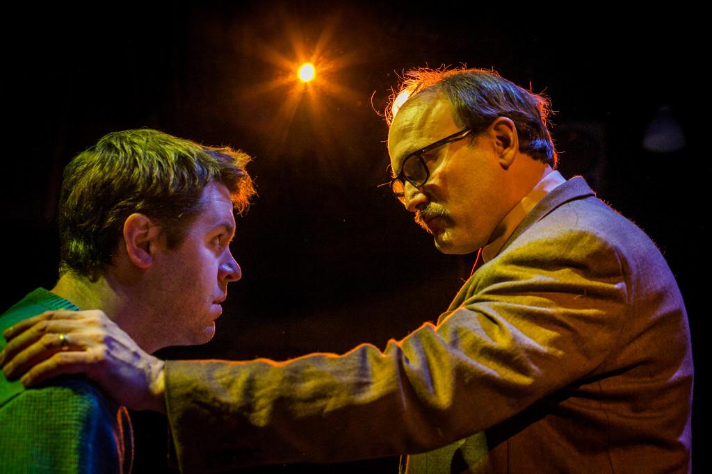 Aaron Kirkpatrick and Paul Kuhn in DEATH OF A SALESMAN.  Photo by Rebecca Gudelunas
