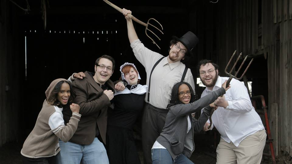 (From left to right) Eli Bevins, Kevin Carpenter, Kate Peters, Blake Christ, Lu Bevins and Ben Monticue on the set of My Dear Arthur.