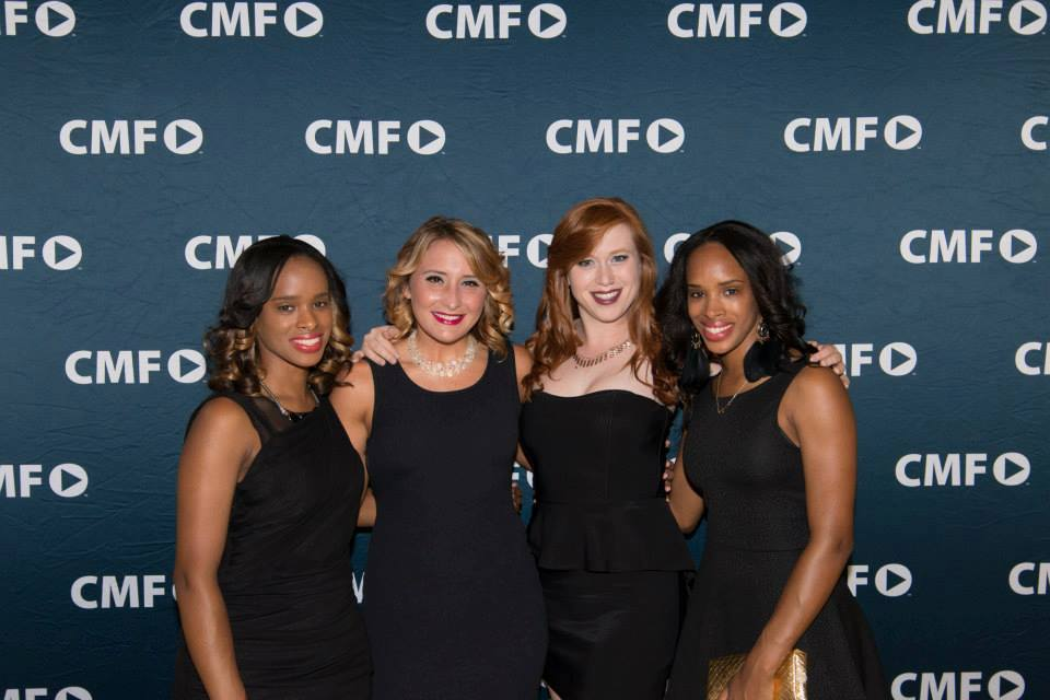 (From left to right) Eli Bevins, Sydney Franklin, Heather Owens, and Lu Bevins at the CampusMovie Fest screening event. Photo by CMF staff photographer.